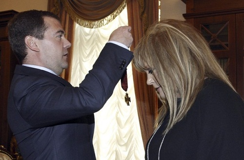 Russian President Dmitry Medvedev awards Service to the Fatherland order to singer Pugacheva on her in Moscow