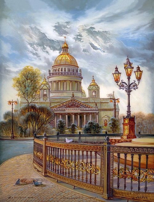 Gold domes of Russia in Fedoskino contemporary Art