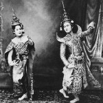 Theatrical performance of Siamese dancers, vintage photo