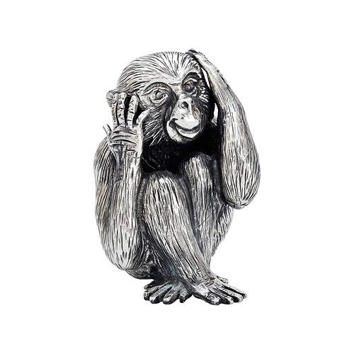 Small Silver 'Hear No Evil' Monkey Sculpture. $1,235