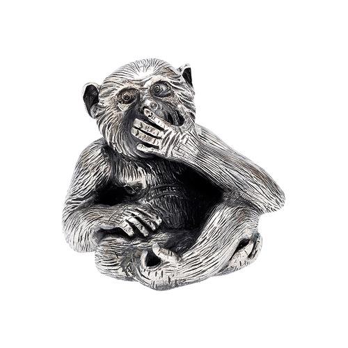 Small Silver 'Speak No Evil' Monkey Sculptureю $1,235