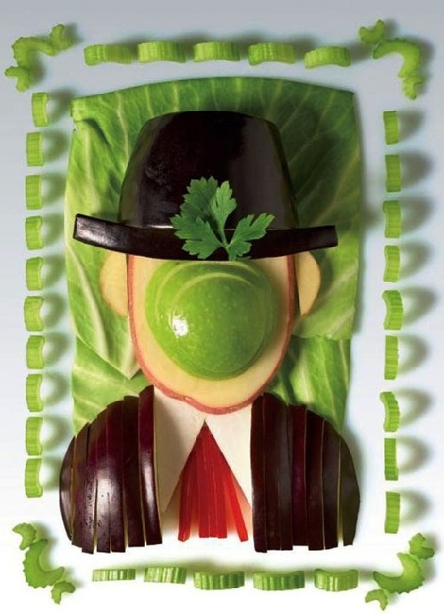 Son of Man by Belgian artist Rene Magritte in the style of Arcimboldo Giuseppe, from fruits and vegetables