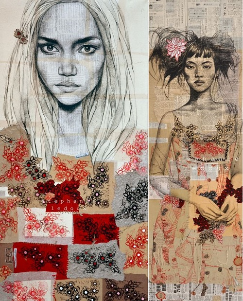 Collage drawings by Stephanie Ledoux
