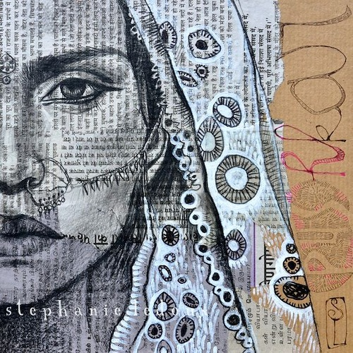 Female portrait. Collage drawings by French illustrator Stephanie Ledoux