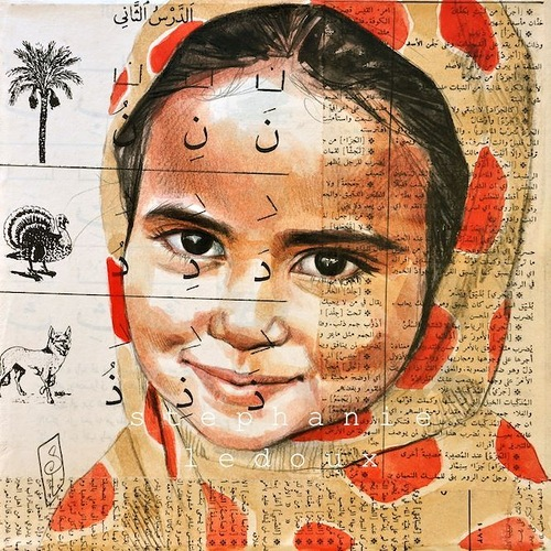An Arabian girl. Collage drawings by French illustrator traveler Stephanie Ledoux