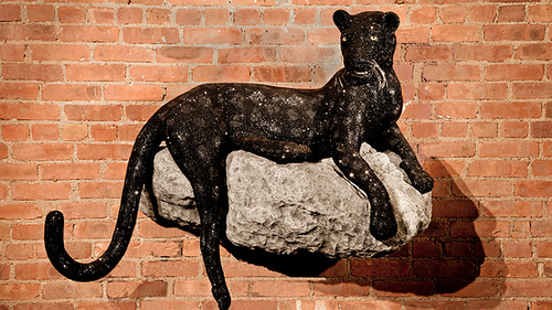 Stunning Life-size Sculpture of Panther decorated with Swarovski Crystals, made by the British Neo Pop Artist Greg Holt