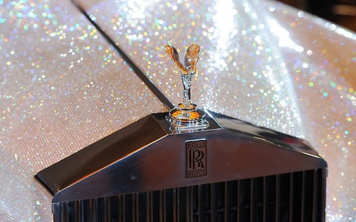 Sparkling Swarovski crystals cover a Rolls Royce Silver Cloud 1962, displayed at the Four Seasons Hotel in Munich, southern Germany, on July 17, 2012
