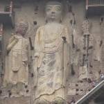Impressive rock carving, statues of Buddhas. The Maijishan Grottoes. Gansu Province, China
