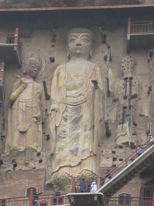Impressive rock carving, statues of Buddhas. The Maijishan Grottoes. Gansu Province, China