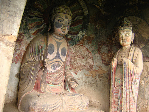 Stunning cave architecture – The Maijishan Grottoes. Gansu Province, China