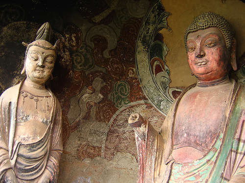 Sculptures in The Maijishan Grottoes. Gansu Province, China