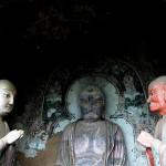 Unique sculpture in the Maijishan Grottoes. Gansu Province, China