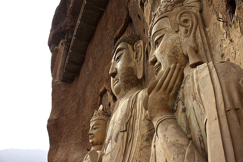 Buddhas statues in The Maijishan Grottoes. Gansu Province, China