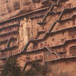 Unique cave architecture – The Maijishan Grottoes. Gansu Province, China