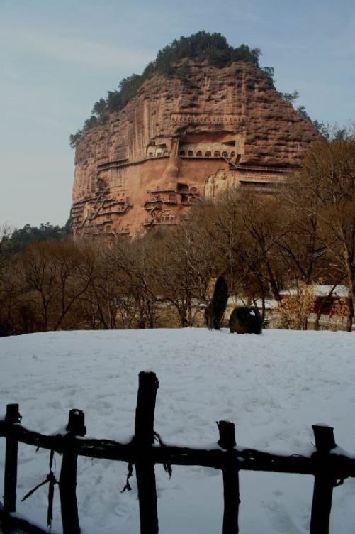 Attracting tourists cave architecture – The Maijishan Grottoes. Gansu Province, China