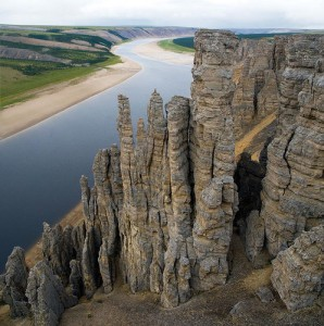 The Olenyok River flows in northern Siberian Russia