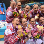 London 2012. The Russian team of synchronized swimmers
