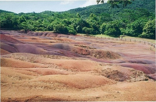 Beautiful landscape, known as The Seven Coloured Earths. The village of Chamarel, Mauritius