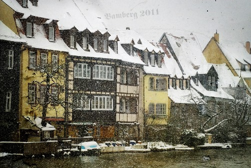 The snow is falling. Photo art by German photographer Bruno Cremer