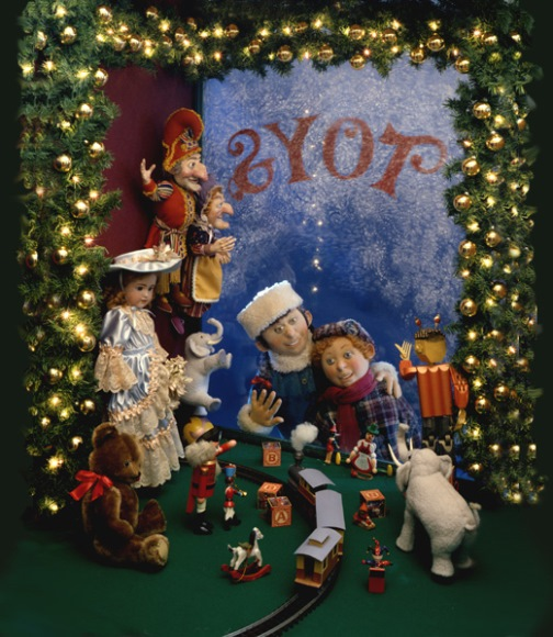 Children at a Toy Store Window: brother and sister enchanted by the gorgeous display, and hoping to find some of these wonders under the tree on the morrow