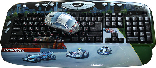 Races. Traditional Russian painting on keyboard, car theme