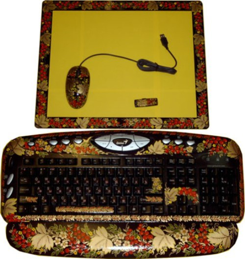 Floral theme. Traditional Russian painting on keyboard