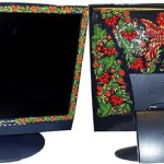 Monitors. Traditional Russian painting on computer