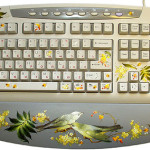 Delicate birds and leaves decorate the keyboard