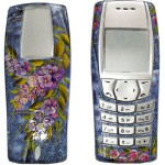 Purple flowers. Traditional Russian painting on mobile phones