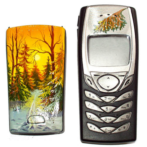 Winter theme. Traditional Russian painting on mobile phones