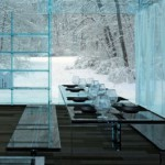 Transperent House made of blue hued glass glass. Design by Italian architects from Milan Carlo Santambrogio and Ennio Arosic