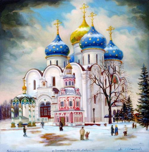 Trinity Lavra of St. Sergius. Fedoskino Artist A. Burmistrova