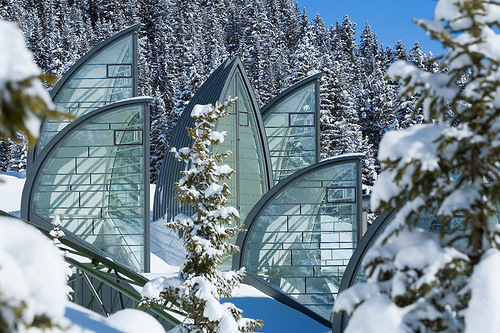 Winter view of Tschuggen Grand hotel in Arosa, Switzerland