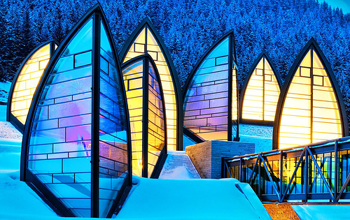 Beautiful hotel and beautiful architecture of Tschuggen Grand hotel in Arosa, Switzerland
