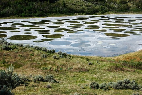 Unusual spotted Lake Khiluk in British Columbia, Canada
