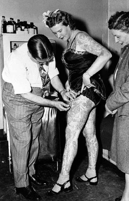 Vintage photographs of tattooed women