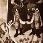 A vintage poster featuring Miss Creola and Miss Alwand, circus performers