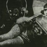 Postcard with the image of Head-to-toe tattooed woman