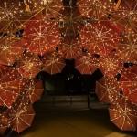 Glowing Umbrella installation by Anna Meister