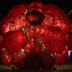 "Fabulous art installation created during the art festival ""Vivid Sydney"". Glowing Umbrella installation by Australian artist Anna Meister"