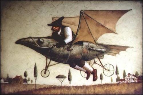 Flying on a metal bird. Surreal steampunk by Russian mixed-media artist Vladimir Gvozdev