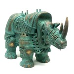 Figure of steampunk rhino by Russian mixed-media artist Vladimir Gvozdev