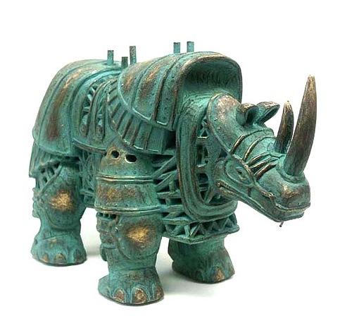 Figure of steampunk rhino by Russian mixed-media artist Vladimir Gvozdev