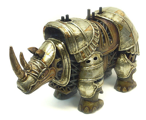 Stunning sculpture of steampunk rhino by Russian mixed-media artist Vladimir Gvozdev