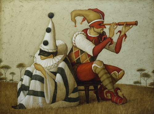 Masked actors. painting by Russian mixed-media artist Vladimir Gvozdev