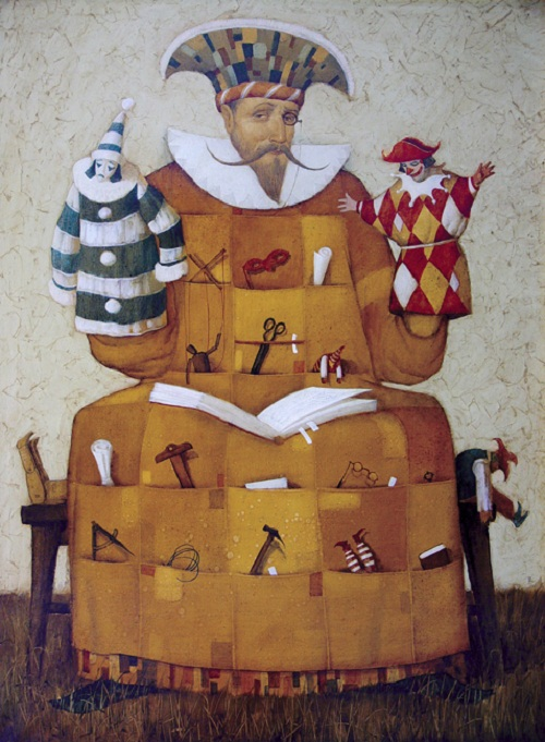 Puppet theater. Painting by Russian mixed-media artist Vladimir Gvozdev