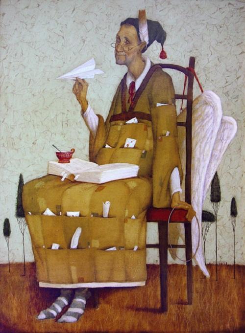 Angel. Painting by Russian mixed-media artist Vladimir Gvozdev