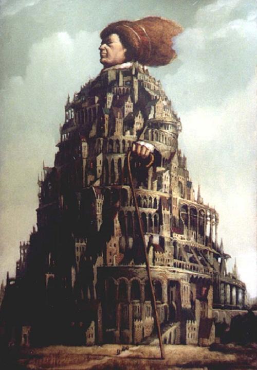 Castle head. Painting by Russian mixed-media artist Vladimir Gvozdev