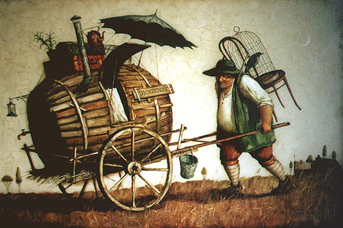 Carrying burrel. Painting by Vladimir Gvozdev