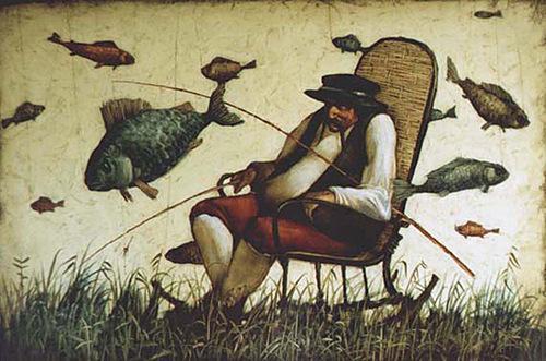 Fisher. Painting by Russian mixed-media artist Vladimir Gvozdev